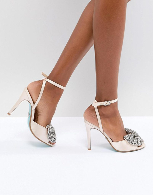 3020563e54b Blue By Betsy Johnson Satin Heidi Bow Heeled Wedding Sandals