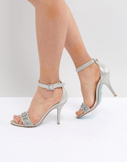 8477c0516da3 Blue By Betsy Johnson Silver Embellished Heeled Wedding Sandals