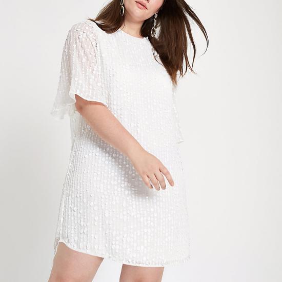 8e70b130 Plus white sequin swing dress, €55 from River Island. ASOS DESIGN  Embellished Scuba Fringe ...