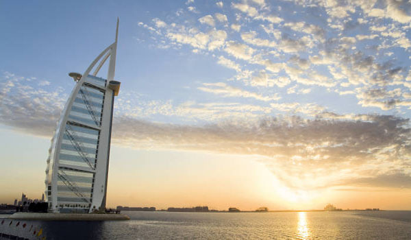 skyline of Dubai, world famous Burj Al Arab