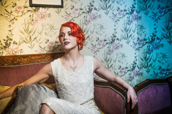 Vintage wedding dress, vintage jewellery 20s makeup, 20s hair, red hair