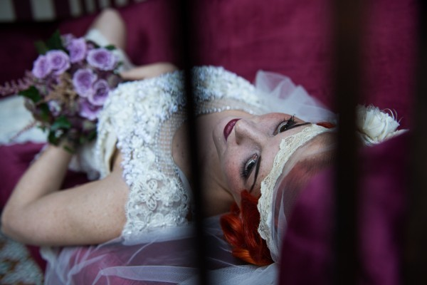 red hair, 20s makeup, 20s hair, vintage veil, purple bouquet