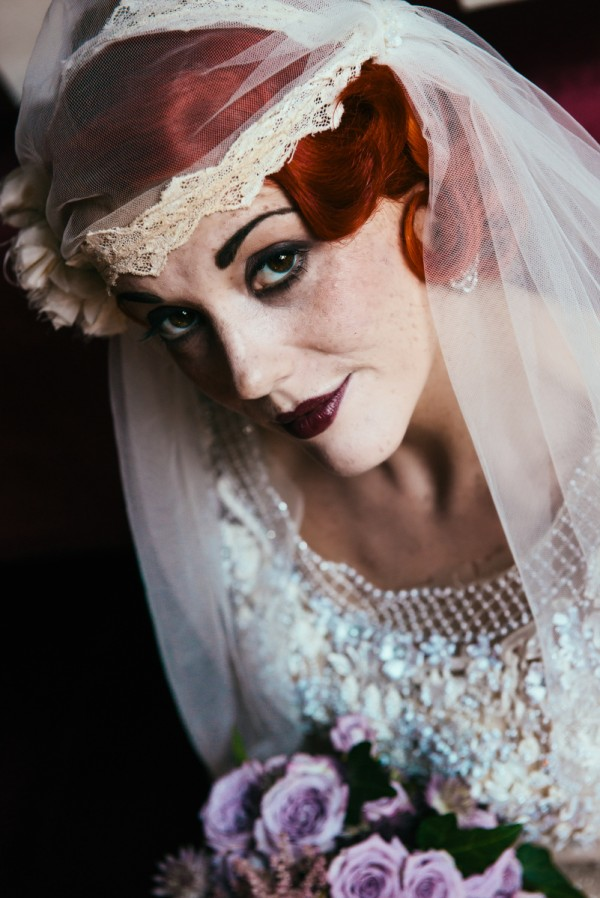 20s bridal makeup, vintage dress