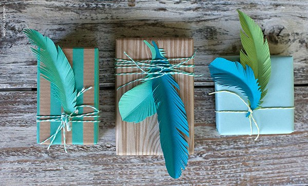 Feather wrapped presents