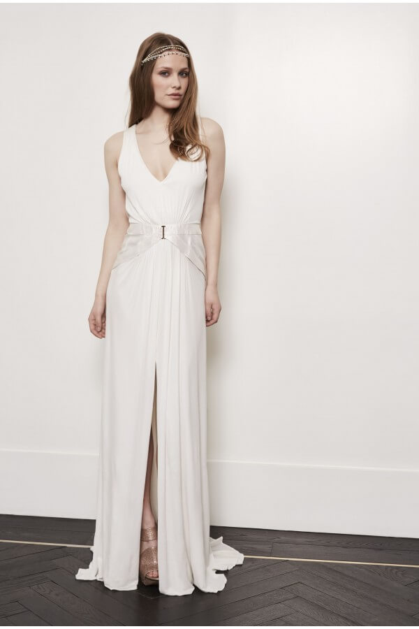 vestido de novia con falda dividida