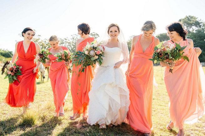 Coral bridemaids