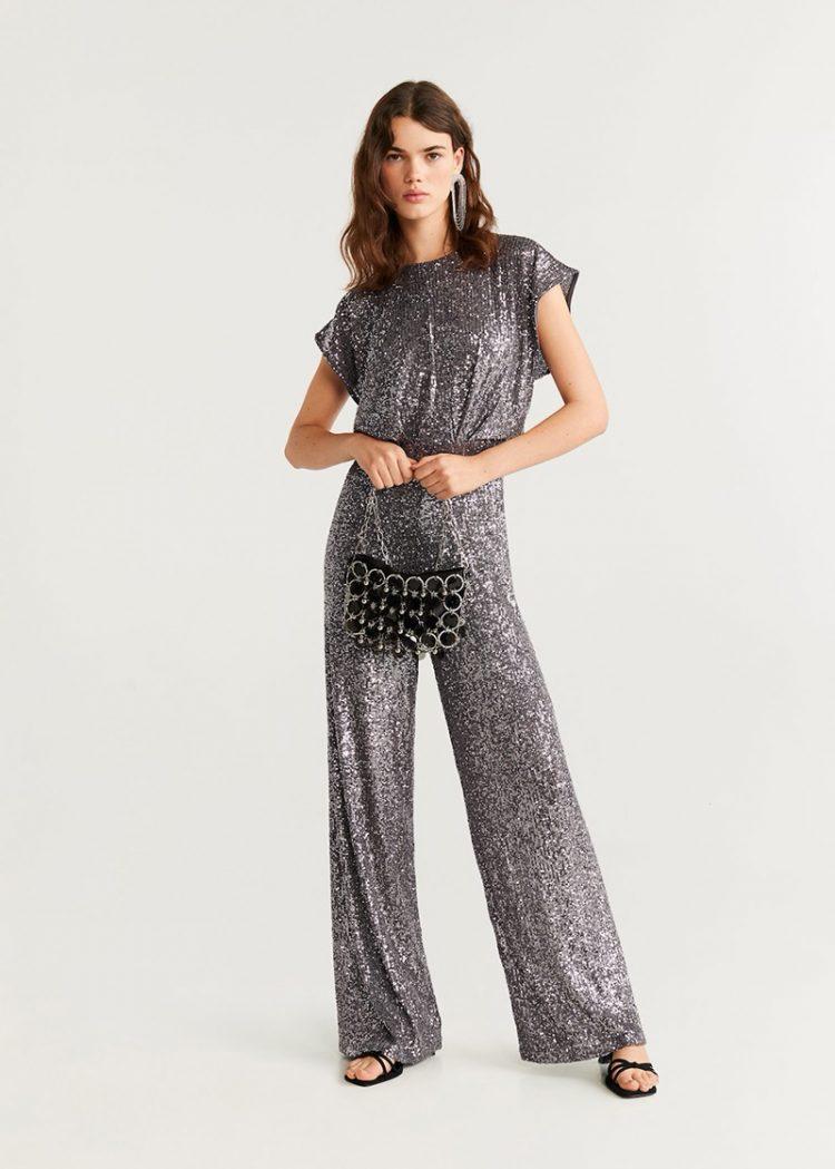 Silver shimmer jumpsuit, Mango