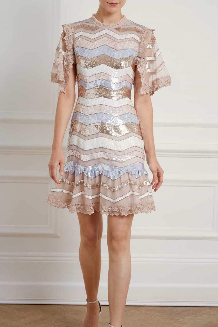 Pearl rose mini dress, Needle & Thread