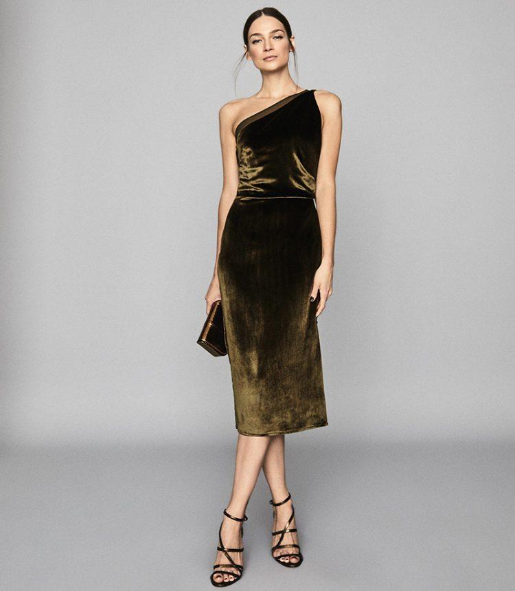 One shoulder khaki velvet dress, Reiss