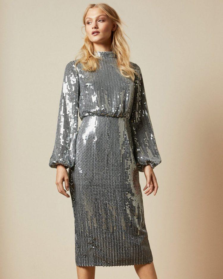 Long sleeve sequin mini dress, Ted Baker