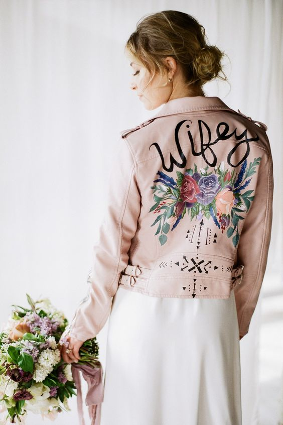 slogan bride jacket