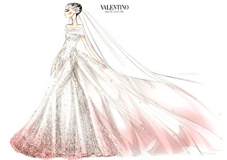 Anne hathaways sparkling valentino wedding dress the sketch anne hathaway wedding dress sketch junglespirit Gallery