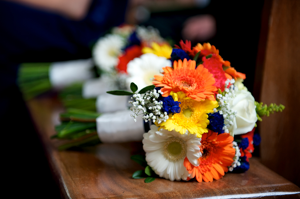 white orange wedding bouquets