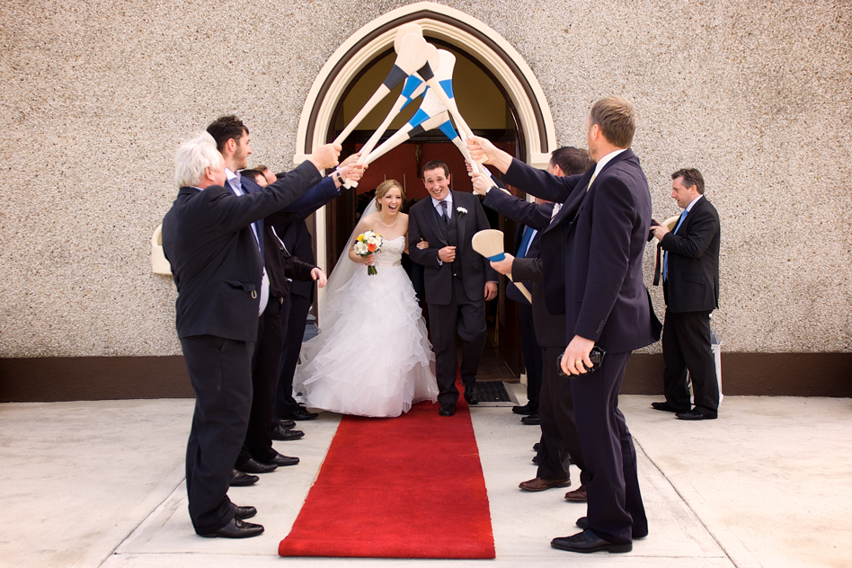 irish wedding hurls church