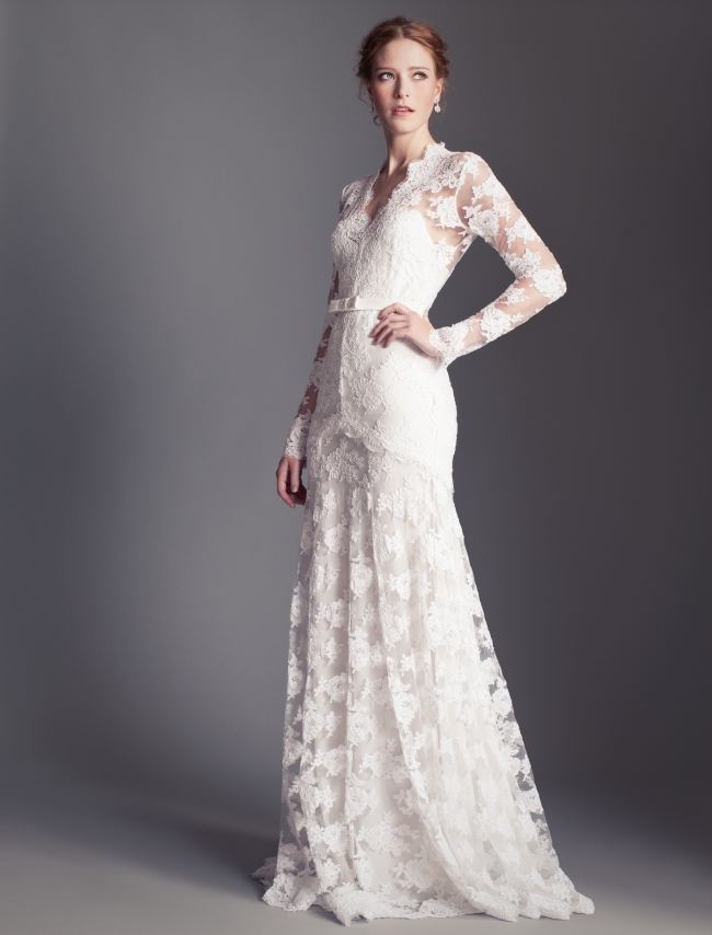 The Ultra Feminine Viva Is A Long Sleeved Chantilly Lace And Chiffon Column Gown With Hand Sched Swarovski Embroidery Florence Henrieta Temperley Bridal