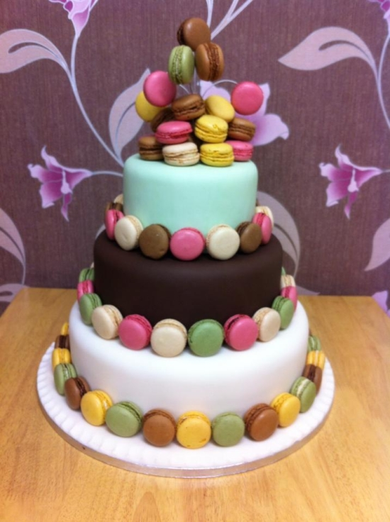 colourful macaron wedding cake