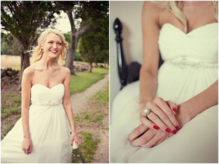 bride with red nails