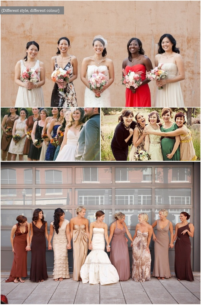 mismatching bridesmaids
