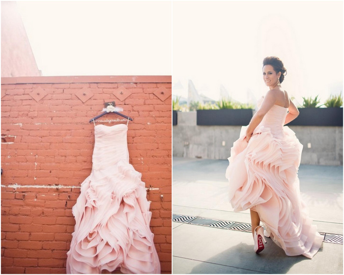 pink vera wang wedding dress bride