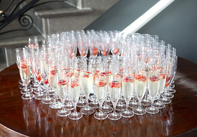 champagne glasses strawberry wedding