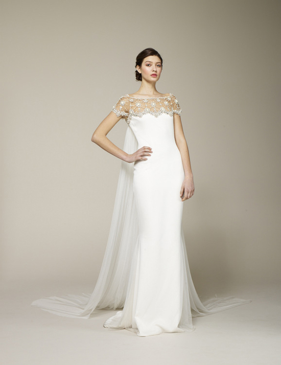 Marchesa spring 2013 weddingsonline for Wedding dress with cape train