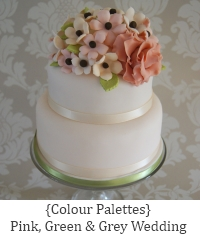 pink grey green wedding palette