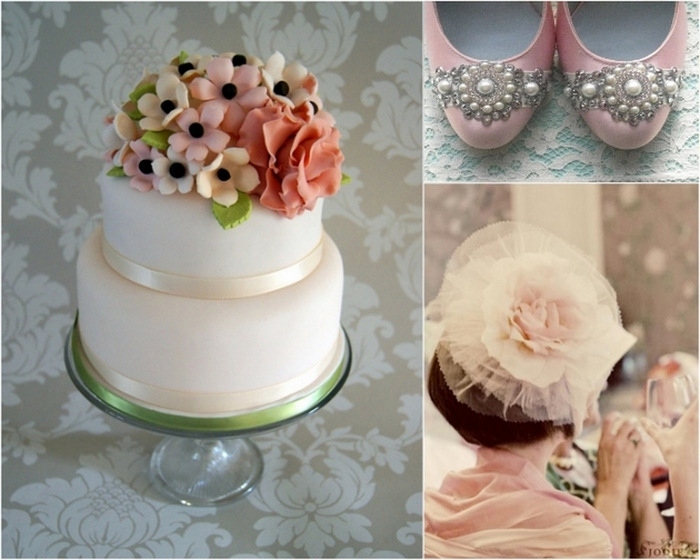 pink grey green wedding
