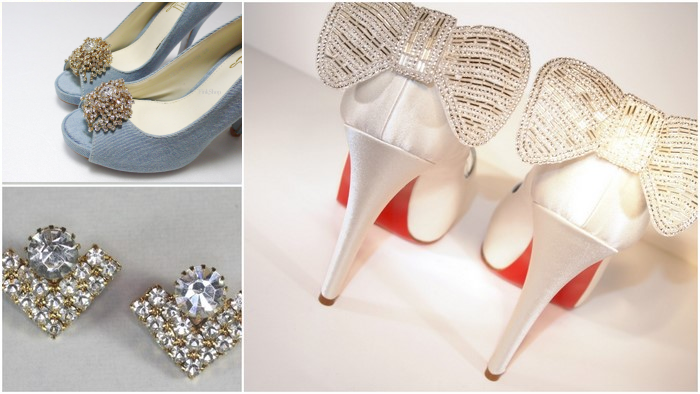 rhinestone bridal shoe clips