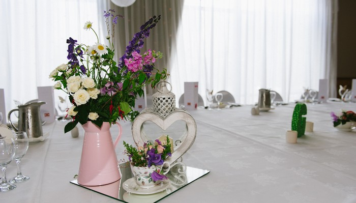 ristic pink and white table setting
