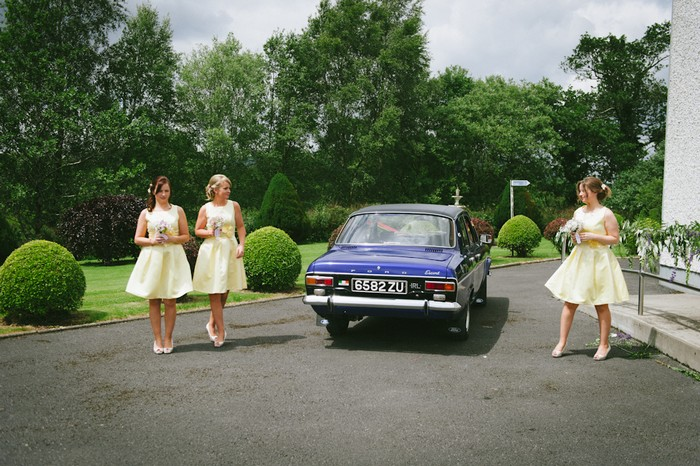 blue wedding car yellow bridesmaid dresses blue and yellow wedding
