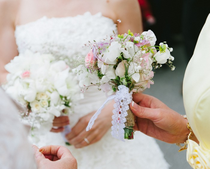 rustic wedding hand tied wedding bouquets lace bouquet white and pink
