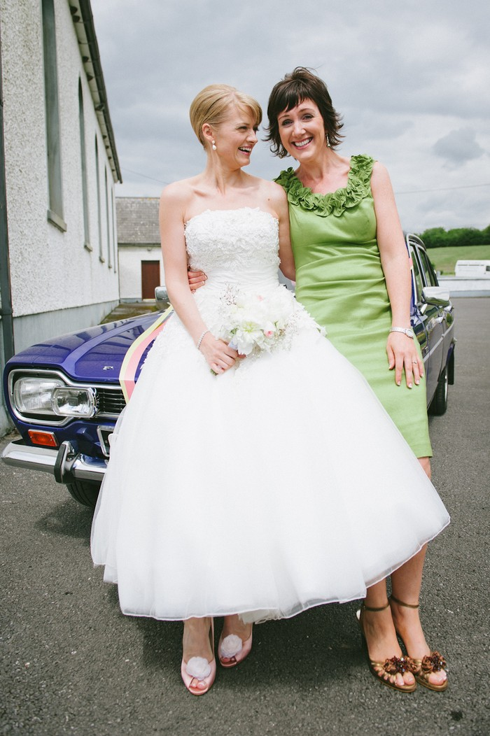bride and wedding guest 50s style wedding