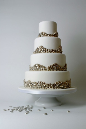silver metallic wedding cake