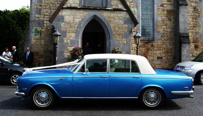 blue rolls royce silvver shadow wedding car ireland