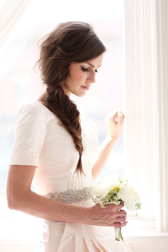 youthful braid wedding hair bride
