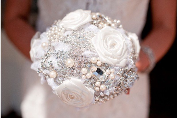 Bridal Brooch Bouquet with white satin roses